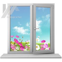 Двухстворчатое пластиковое окно от компании Комфорт и Уют