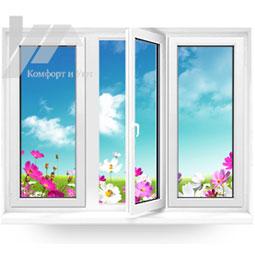 Трёхстворчатое пластиковое окно от компании Комфорт и Уют